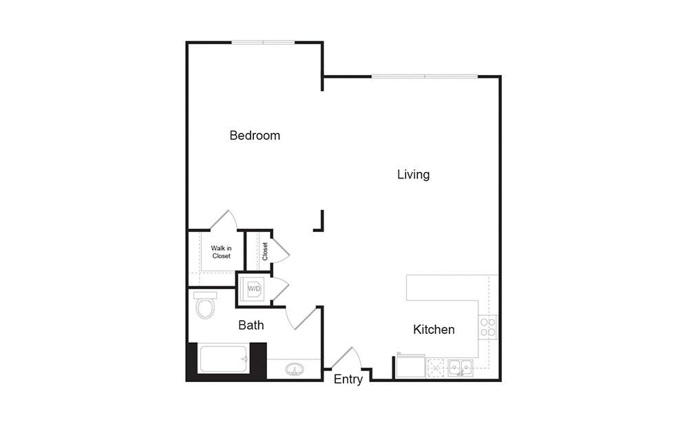 1F 1 bedroom 1 bath floor plan