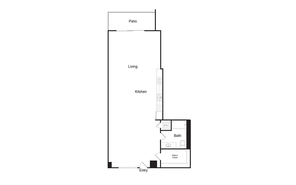 1G 1 bedroom 1 bath floor plan