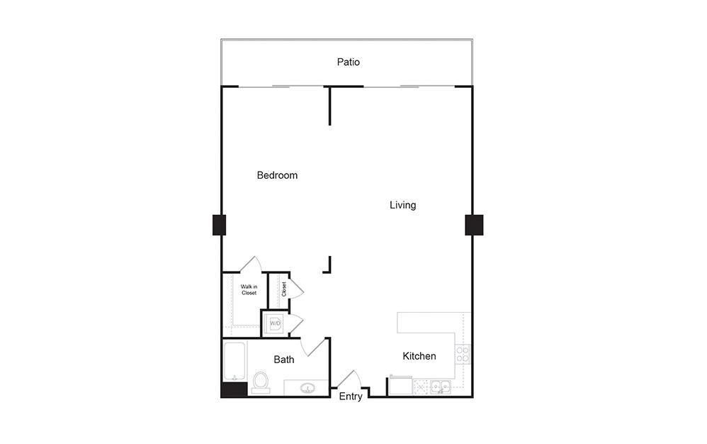 1L 1 bedroom 1 bath floor plan