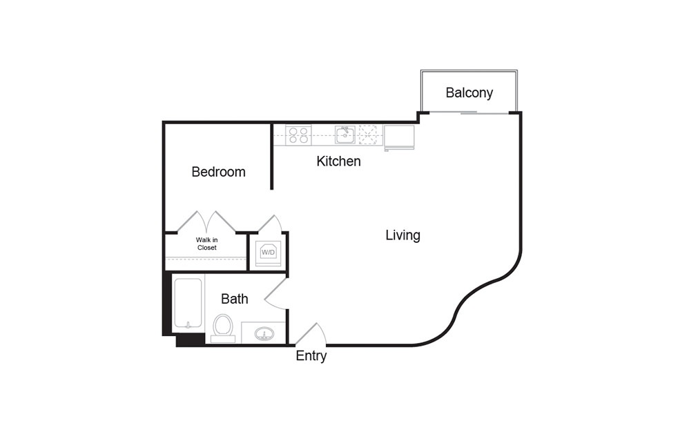 A1 1 bedroom 1 bath floor plan