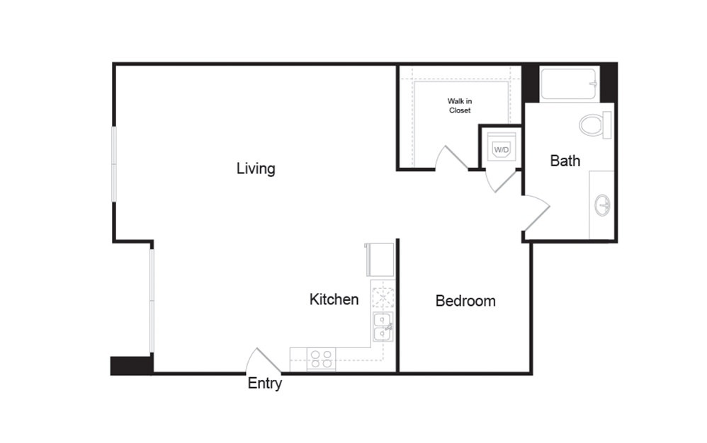 1C 1 bedroom 1 bath floor plan
