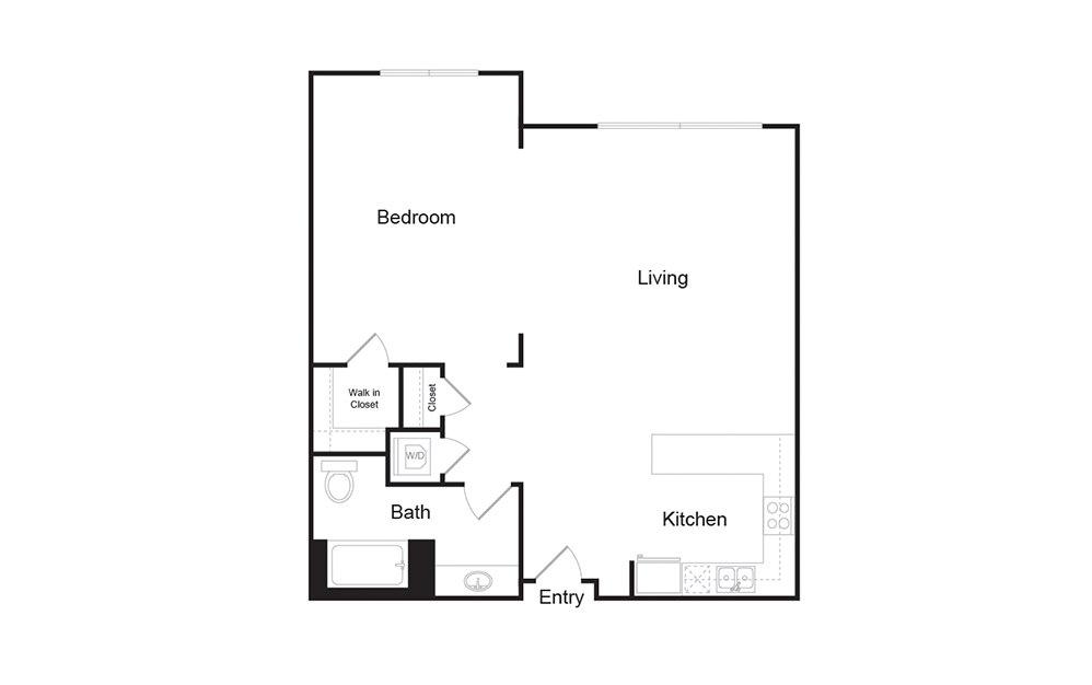 1D 1 bedroom 1 bath floor plan