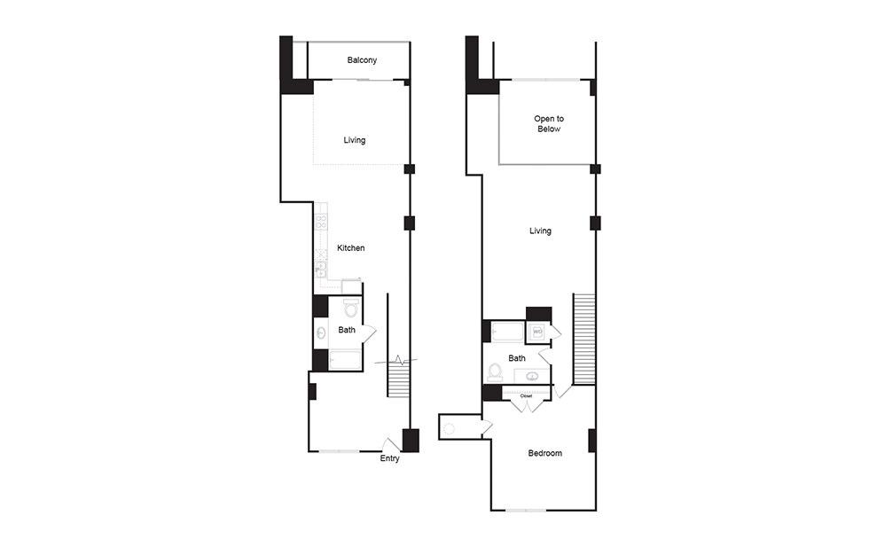 2H 2 bedroom 2 bath floor plan