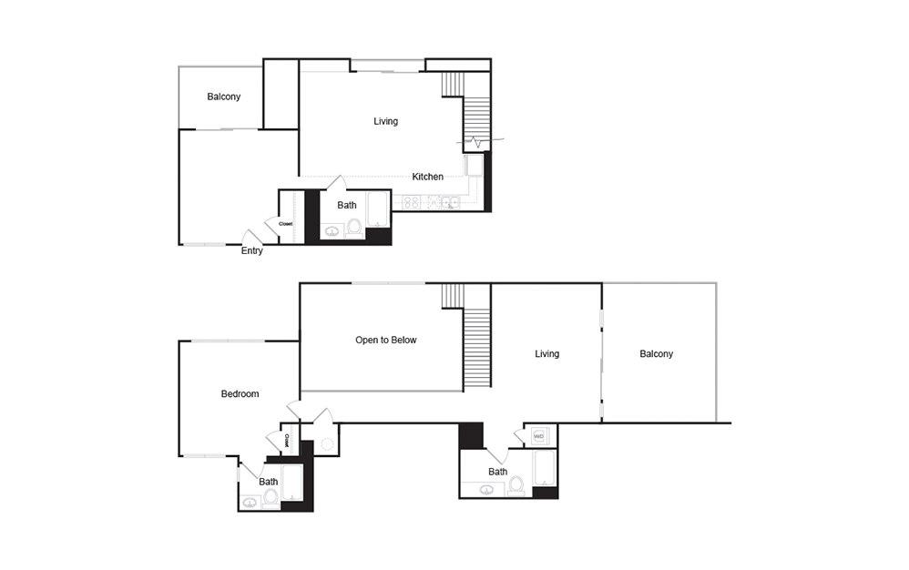 2J 2 bedroom 2 bath floor plan