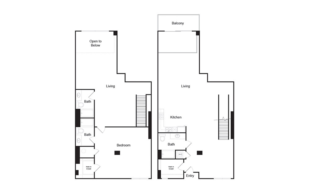 2K 2 bedroom 2 bath floor plan