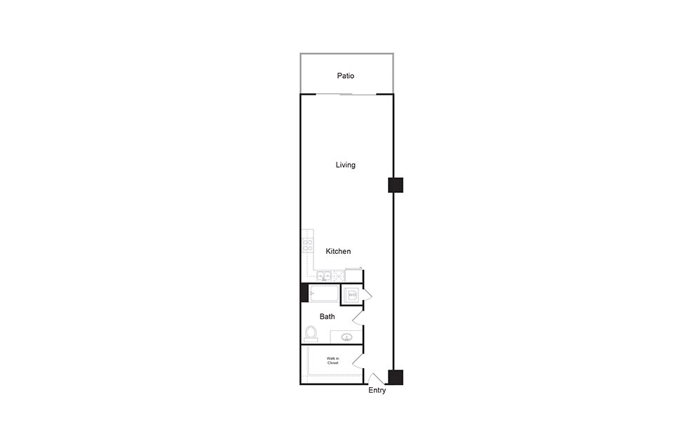 1E 1 bedroom 1 bath floor plan