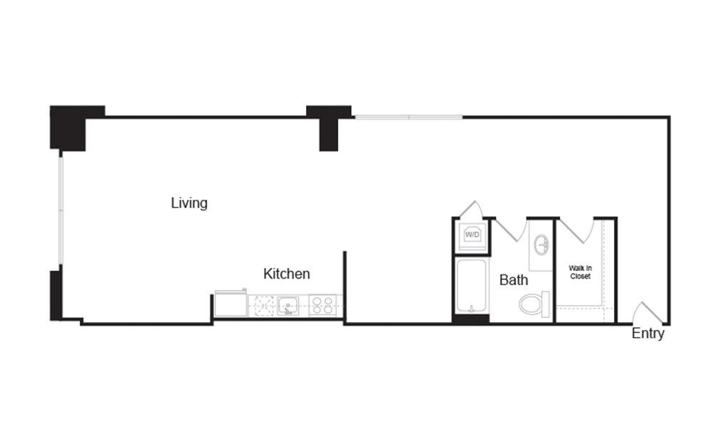 1H 1 bedroom 1 bath floor plan