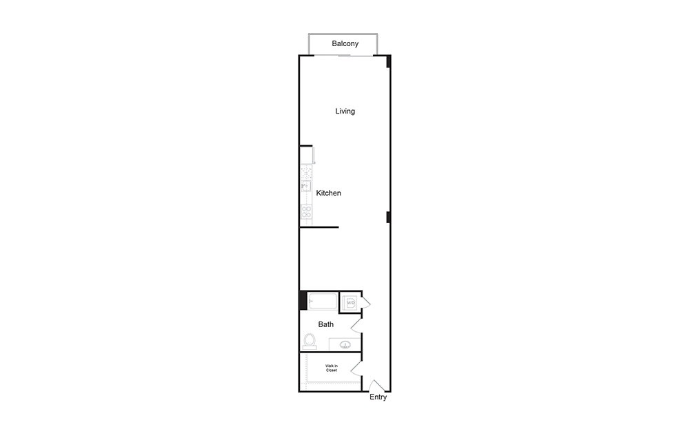 0C 1 bedroom 1 bath floor plan